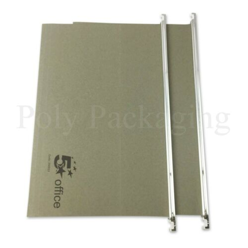 FOOLSCAP SUSPENSION FILES with Tabs and Inserts GREEN 15mm *ANY QTY* Manilla