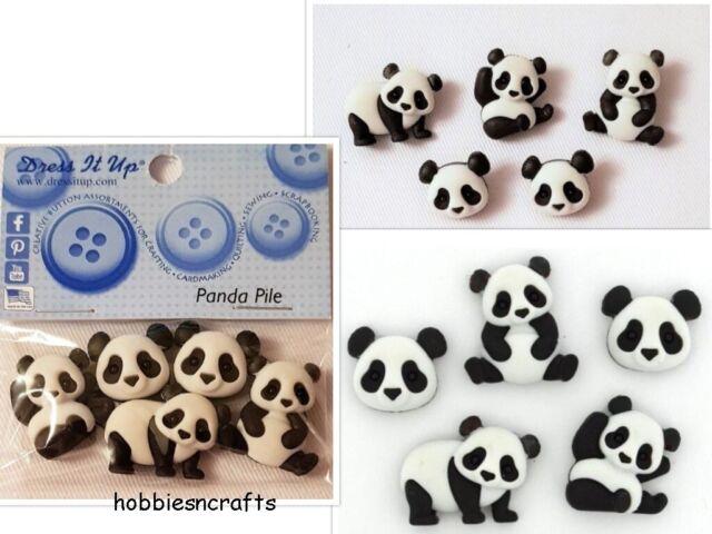 Dress it Up Panda Bear Buttons Panda Pile 5 x Pandas Cute Embellishment