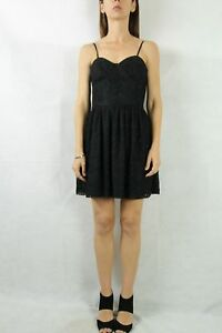 FOREVER-NEW-Black-Lace-Bustier-Dress-Size-12