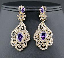 Exquisite Orchid Austrian Rhinestone CZ Chandelier Dangle Earrings E3513g Gold