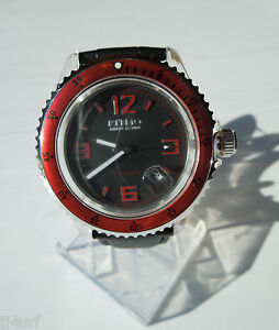 Ritmo-Mvndo-312-Red-Hercules-Automatic-Watch-Date-Black-Dial-Leather-Strap