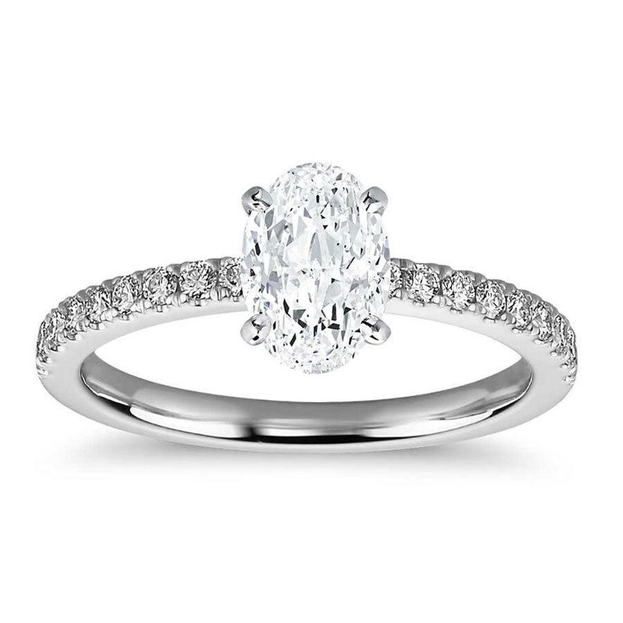 1.76 Ct Tw H VS2 OVAL CUT DIAMOND PAVE ENGAGEMENT RING 14K
