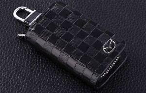 Mazda Leather Car Key Keychain Fob Case Holder Zipper Cover High Quality Black