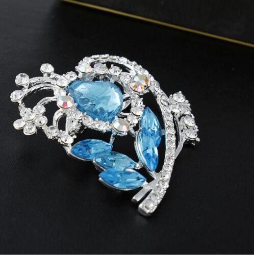 Nouveau Cristal Argent Strass Coeur Fleur Broche Broche Mariage Mariée Accessoire