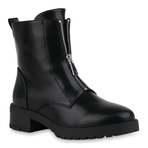 Damen Klassische Stiefeletten Gefütterte Boots Zipper 831462 Trendy Neu