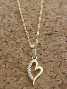 Real-14Kt-Yellow-Gold-Heart-Pendant-Necklace-amp-Solid-14k-gold-ROPE-18inch-Chain