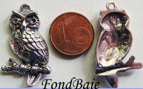 2 breloques perles CHOUETTE HIBOU sur branche métal argenté 30mm DIY B185