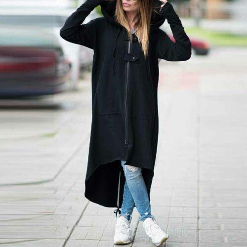 Women Oversize Hoodies Shirt Dress Zip Up Jacket Coat Asymmetrical Hooded ZANZEA