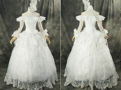 H-331 S/M/L/XL/XXL white Victorian Gothic Cosplay Kleid dress Kostüm costume