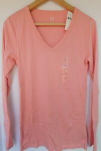 NWT-GAP-Women-039-s-Favorite-LS-V-Neck-T-Shirt-Pink-XS-S-M-L-Free-Shipping-New