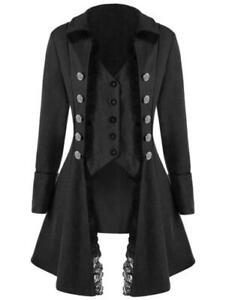 Women Steampunk Victorian Gothic Coat Jacket Lace Trim Tailcoat Medieval Dress