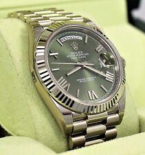 Rolex President 40mm Day-Date 228239 18K White Gold Green Roman Dial BRAND NEW
