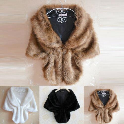 Fashion Womens Elegant Bridal Wedding Faux Fur Long Shawl Stole Wrap Shrug Scarf