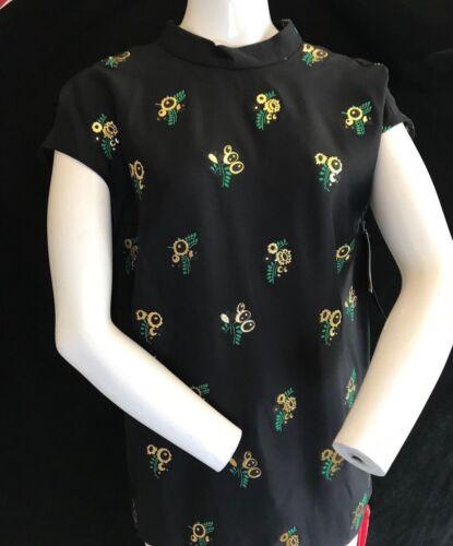 Gold Bnwt Stella Sleeveless Blouse Flowers Uk Ladies Black 40 Top Mccartney 10 q40xRqnC