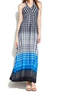 b04394798fe5 Calvin Klein Maxi Dress Petite Sz 0P Cosmic Blue Ml Print Rayon ...