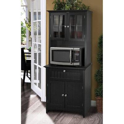 kitchen storage cabinet microwave stand drawer organizer cupboard hutch black