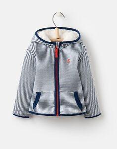 3d6aee30f9ab Joules Baby Boys James Navy Striped Reversible Fleece Zip Sweatshirt ...