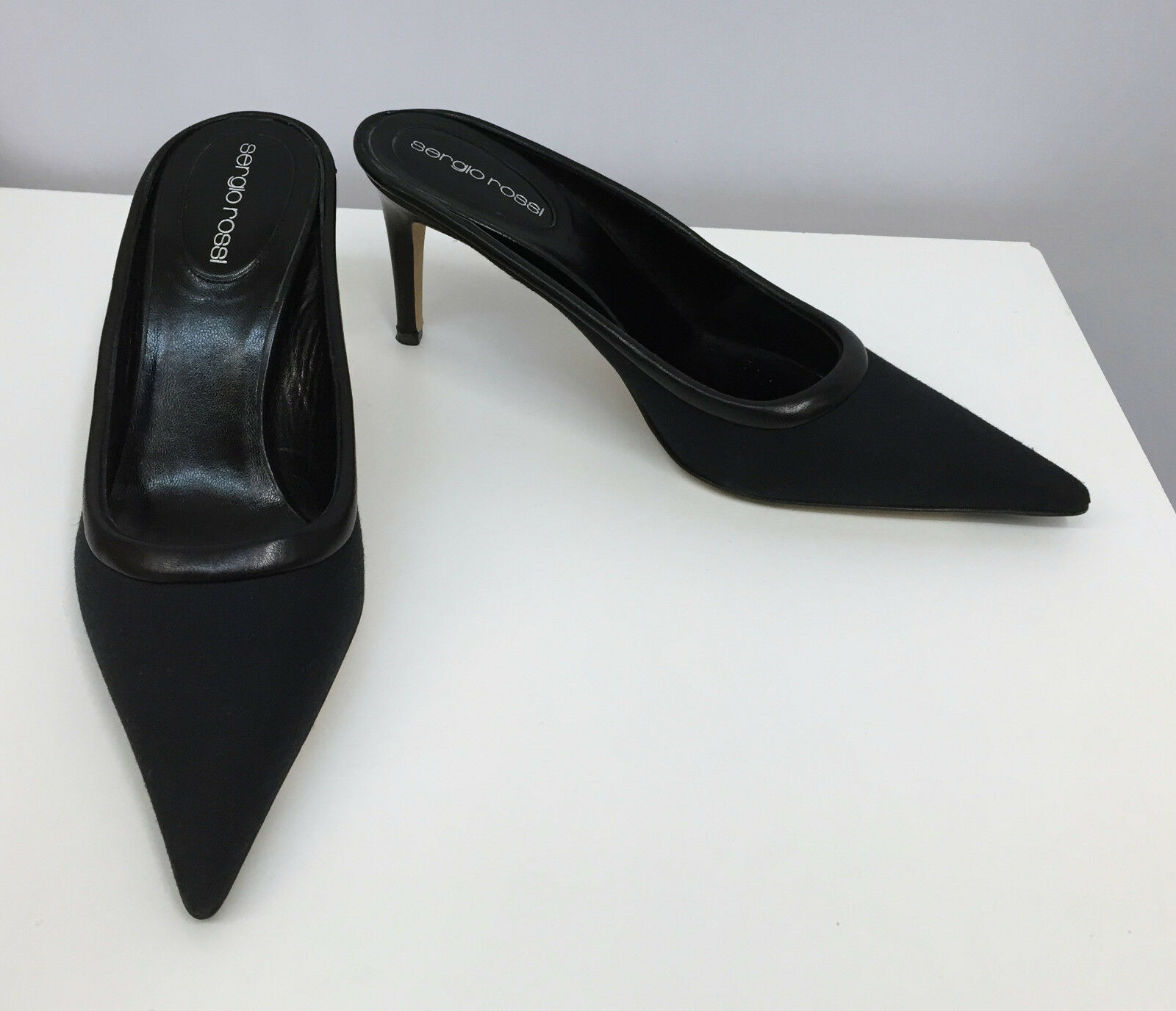 SERGIO ROSSI Schuhe MULES BLACK MICROFIBER AND LEATHER SIZE 37 1/2 7