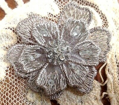 """EMBROIDERED 3-D APPLIQUE Layered Flowers 2 1/8"""" Hand Sewn GLASS BEADS 1pc"""