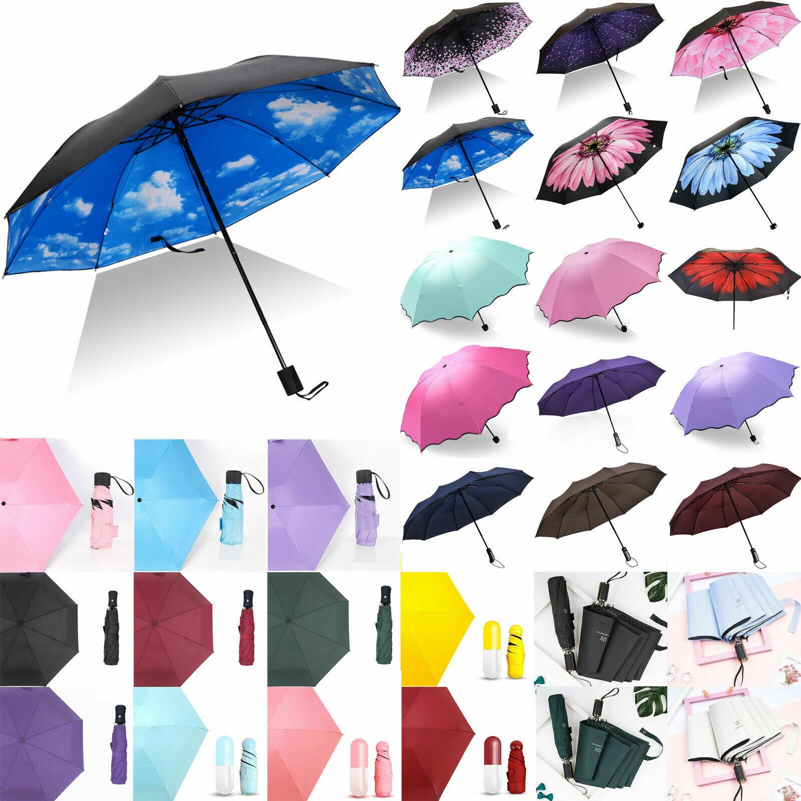 Women Compact Folding Sun Rain Umbrella Windproof Travel Handle Inverted Anti-UV
