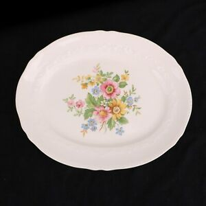 "Crown Potteries CO. 13"" PLATTER Serving Plate Vintage Multi-color Flowers"