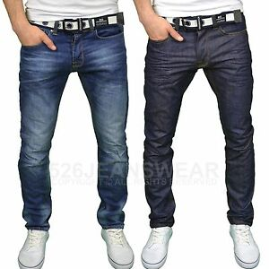 Crosshatch-Mens-Branded-Regular-Fit-Straight-Leg-Belted-Jeans-Sizes-30-034-46-034