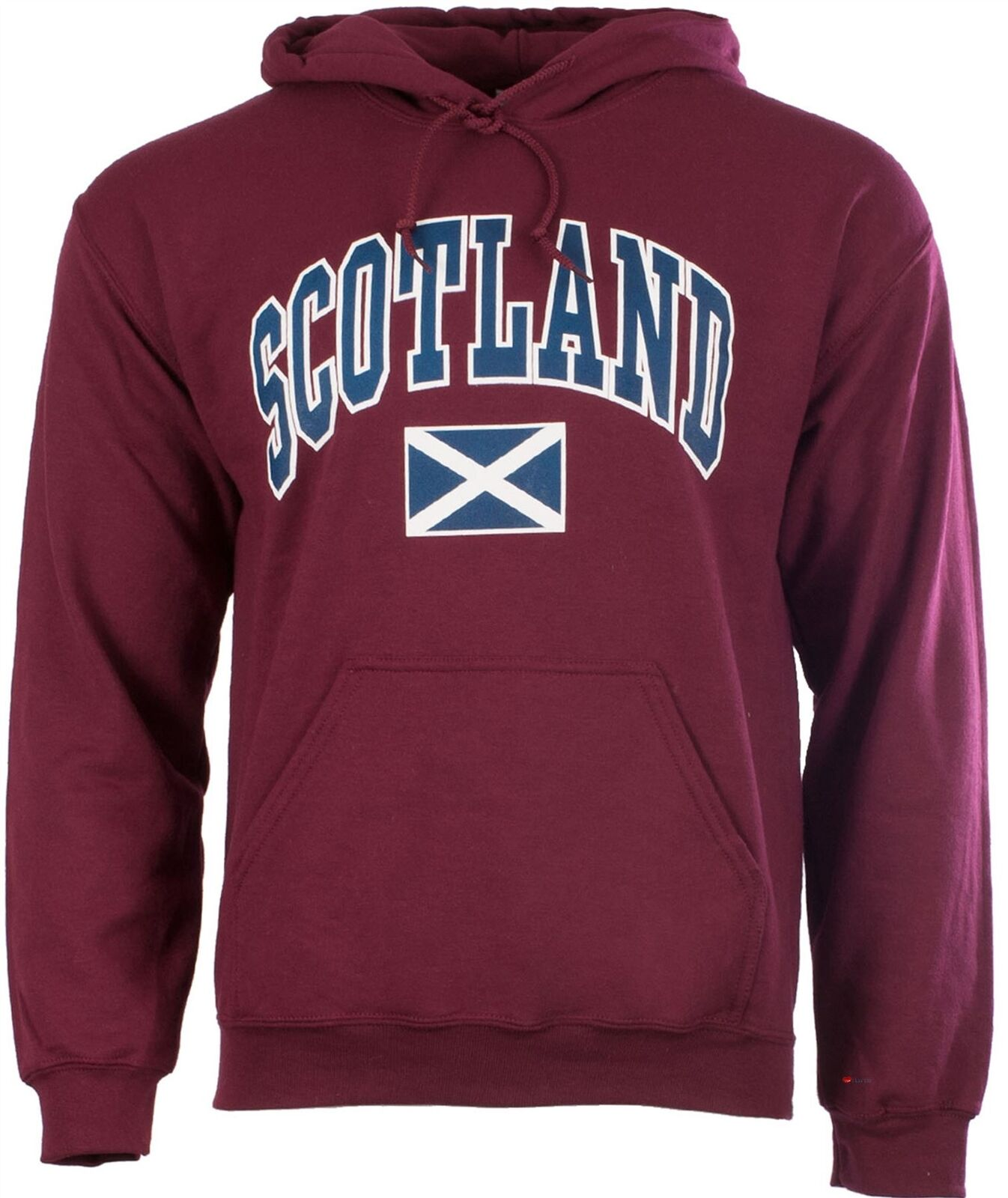 Harvard Style Hooded Jumper With Scotland Text In Maroon Größe 2X-Large