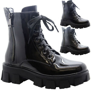 Ladies Chunky Platform Ankle Lace Up Boots Womens Zip Goth Punk Shiny Shoes Size