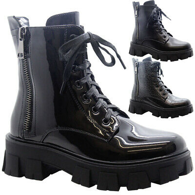 WOMENS LADIES BIKER ANKLE BOOTS GOTH LACE UP ZIP BOOT ANKLE WOMEN SHOES SIZE