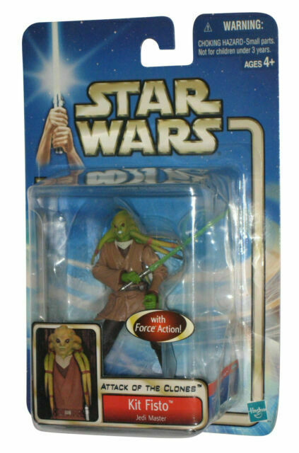 STAR WARS ATTACK OF THE CLONES KIT FISTO JEDI MASTER FORCE ACTION 2002 #05 MOSC