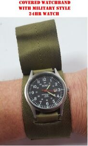 Military Style Field Watch   OD Green Covered Watch Band Commando ... 284d8d95d73