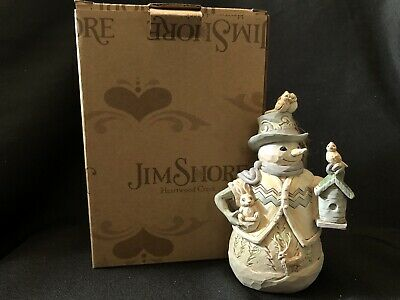 Jim Shore New WHITE WOODLAND SNOWMAN HOLDING BIRDHOUSE ORNAMENT 6001418 with
