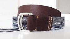 Tommy Hilfiger Herren Gürtel Rian Multi Step Belt blau braun Textil Leder Gr 100