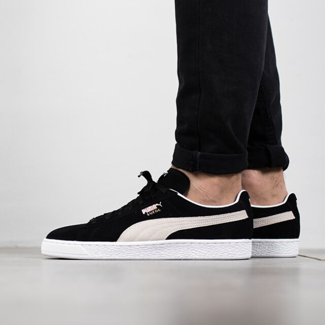 e3d97f30833 PUMA Suede Classic Black White Mens Womens Shoes SNEAKERS 352634-03 ...