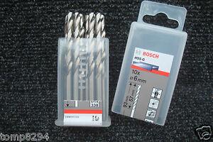 PACK OF 10 X BOSCH   6MM   HSS-G JOBBER METAL DRILL BITS 2 608 595 066