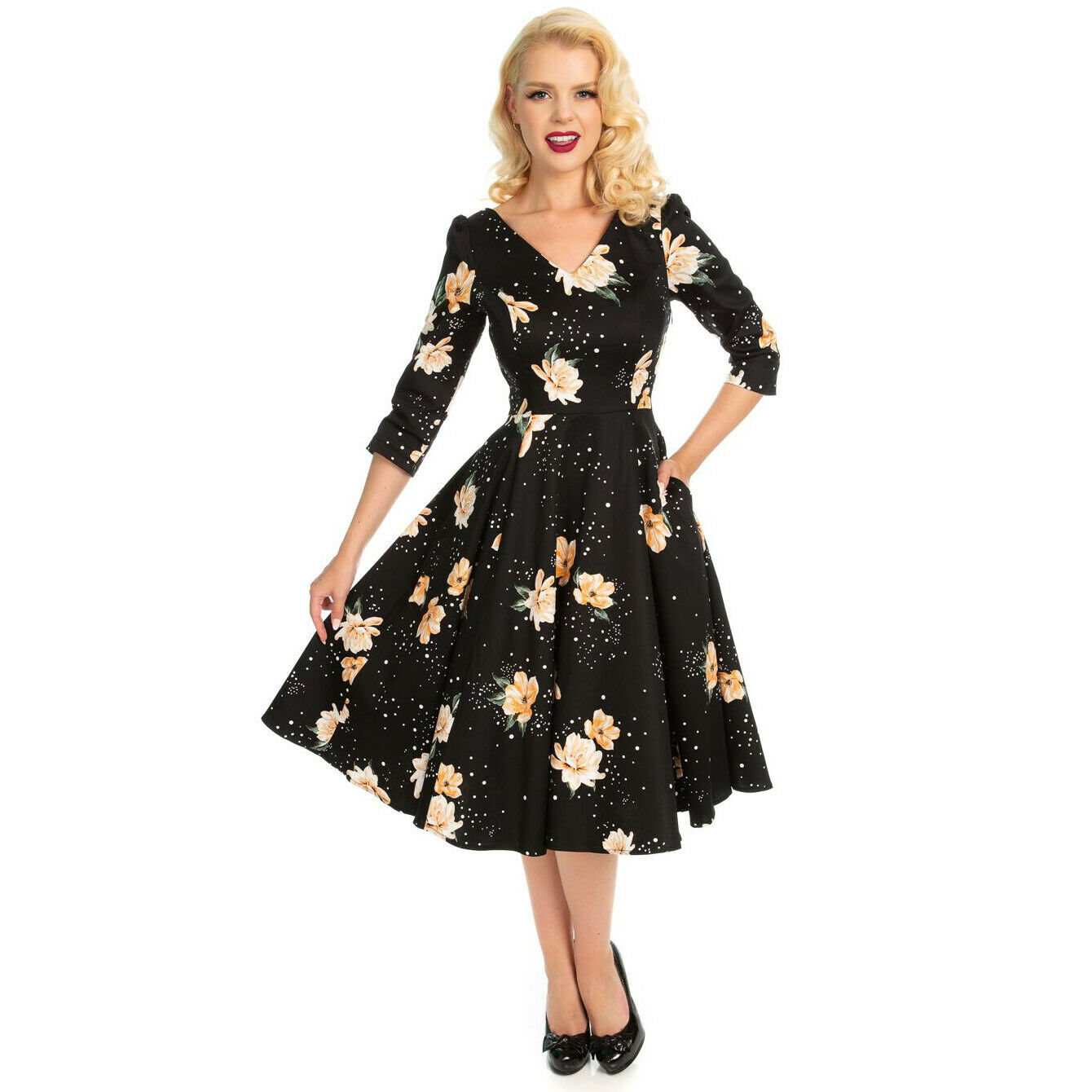Stunning Black Floral Stardust 3 4 Sleeve Vintage Swing Party Occasion Dress