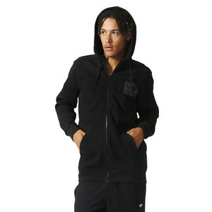 Men-039-s-zippered-hoodie-Adidas-Originals-Street-Essentials-Zip-Hoody-Black-Sweat