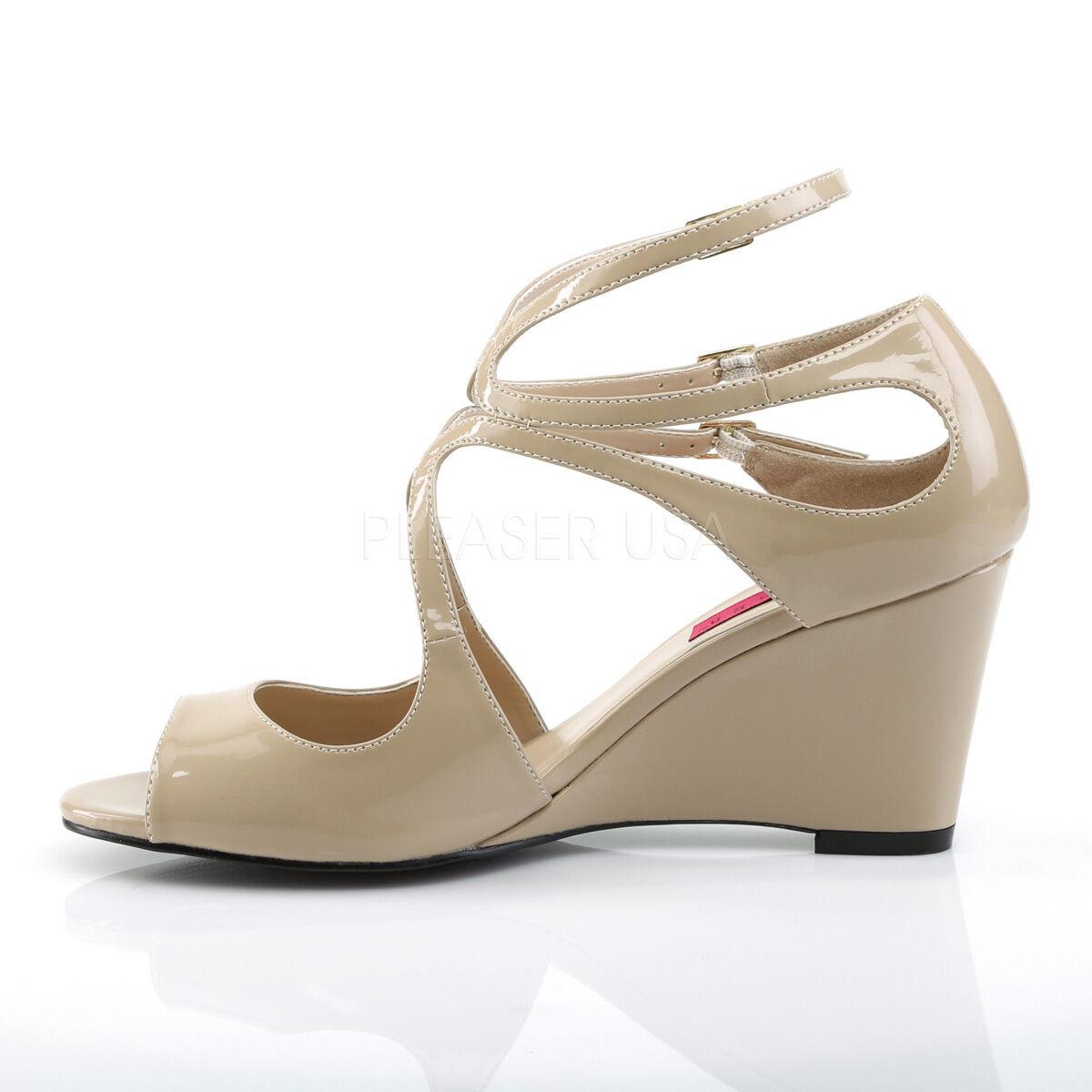 PLEASER PLEASER PLEASER Sexy 3  High Wedge Heel Strappy Cream Patent Sandals schuhe KIM04 CR 940fae