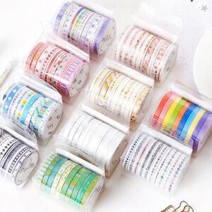 10-Rolls-Tape-Set-Scrapbooking-School-Supplies-Basic-Slim-Masking-Tape-HB