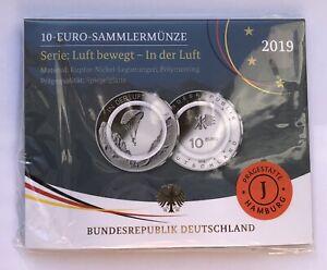 10 Euro Sammlermünze 2019 Serie: Luft bewegt - In der Luft - Prägestätte J in PP