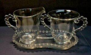 IMPERIAL-GLASS-CANDLEWICK-Creamer-Open-Sugar-and-Tray-Beaded-Glass-Handles