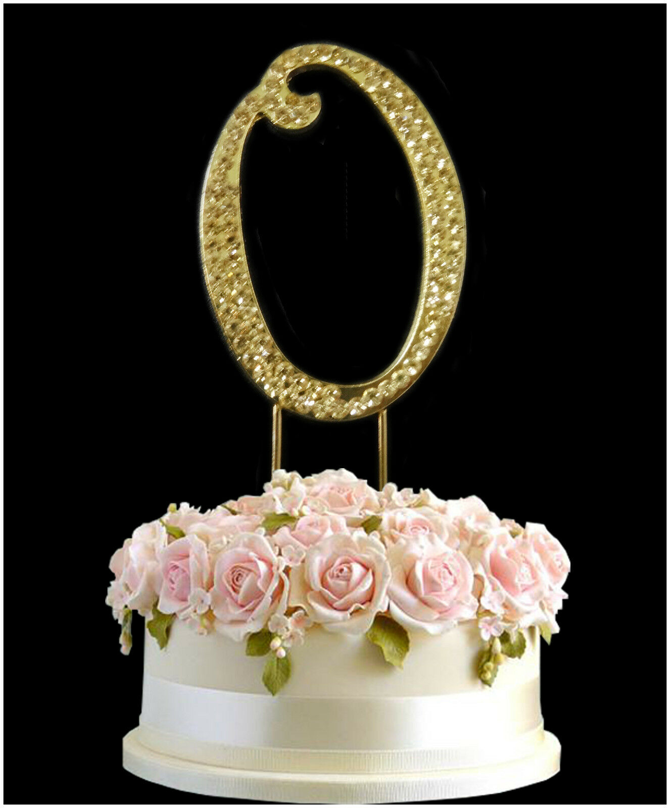 Gold Cake Topper Rhinestone Crystal Diamante Birthday Anniversary