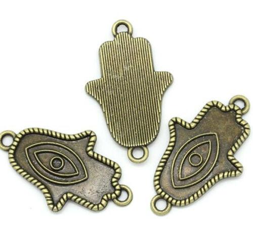 8 Hamsa Hand Charm Connectors Antique Bronze Tone BC657