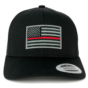 FLEXFIT American Flag Patch Snapback Trucker Mesh Cap - BLACK - Thin ... d14d7e953e13