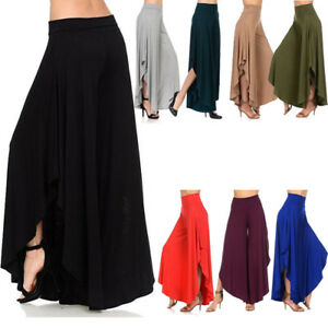 337dff4f286 Womens Autumn Loose High Slit Layered Wide Leg Flowy Cropped Palazzo ...