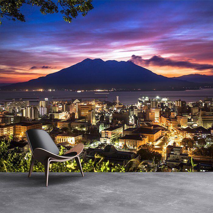Vulkan & lila Himmel Fototapete Japan Skyline Tapete Berg Dekor
