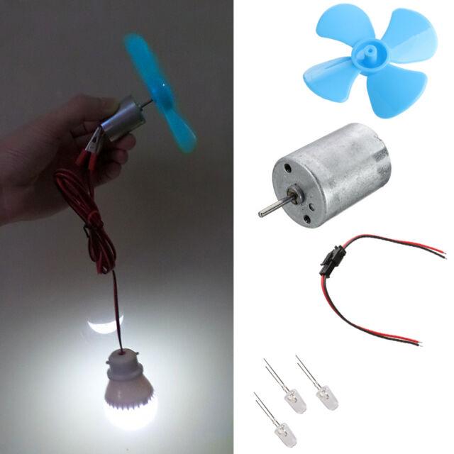 Mini Wind Turbines Generator Small Motor LED Blades Children Electric DIY  DE