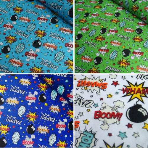 Polycotton Fabric Comic Book Sound Effect Cartoon Smash Boom Zap Wham