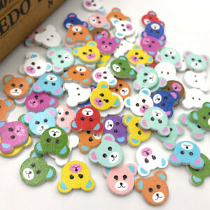 50-100-500pcs-Mix-Wood-Buttons-Baby-Bear-Head-Sewing-Craft-2-Holes-WB291