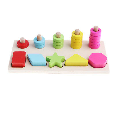 Montessori game fraction wooden toy doll resolve shape match wood block board